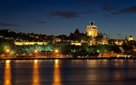 Canada, Quebec, castle, houses, river, lights, night