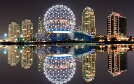 Preview wallpaper Canada, Vancouver, night, lights, buildings, water reflection, river