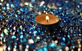 Candle, flame, glass balls
