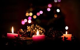 Velas luzes, chama, noite