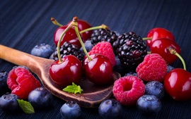 Preview wallpaper Cherry and berries, spoon, fruit