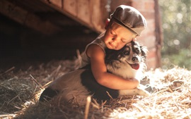 Preview wallpaper Child boy and dog, friendship