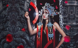 Preview wallpaper Chinese opera girl, makeup, headdress, fan