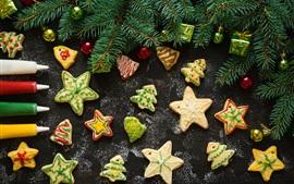 Рождество, печенье, звезды, сосна