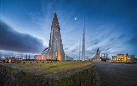 Vorschau des Hintergrundbilder Kirche, Reykjavik, Island, Abend