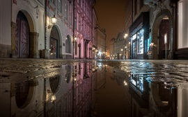 Preview wallpaper City night, street, puddles, water, lights, Prague, Czech Republic