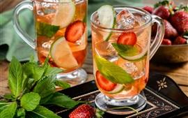 Cocktail, bebidas, menta, morango, gelo, limão