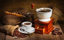 미리보기 배경 화면 커피 원두, 초콜릿, 컵, 음료