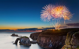 Preview wallpaper Cornwall, England, fireworks, sea, coast, dusk