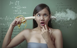 Preview wallpaper Creative design, girl, banana, mathematics
