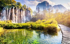 Preview wallpaper Croatia, beautiful waterfall, park, trees, mountains, autumn