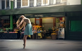 Preview wallpaper Dance girl, city street, ballerina
