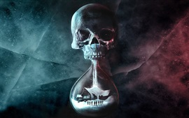 Preview wallpaper Death, skull, hourglass, house, creative picture