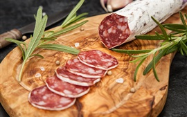 Preview wallpaper Delicious salami, sausage, cutting slice