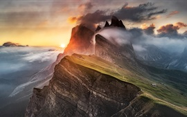 Preview wallpaper Dolomites, mountain, fog, clouds, Alps, sunrise