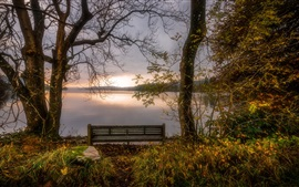 England, Cumbria, bench, lake, autumn