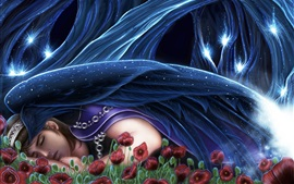 Preview wallpaper Fantasy girl sleeping, red flowers