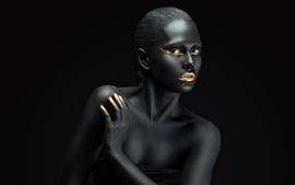 Moda, fotografia de arte, menina de pele negra