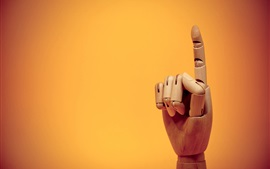 Preview wallpaper Finger gesture, wooden artworks