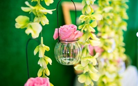 Preview wallpaper Flowers, rose, jar