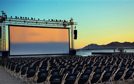 Preview wallpaper France, Cannes film festival, sea, screen, chairs