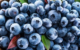 Fresh blueberries, fruit, leaves