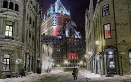 Frontenac, Canadá, calle, edificios, nieve, invierno