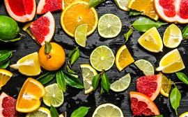 Fatia de frutas, limão, lima, laranja, toranja