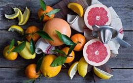 Fruta, natureza morta, citrinos, limões, toranja