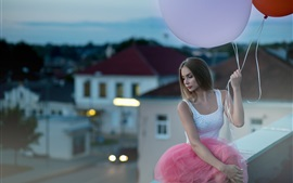 Preview wallpaper Girl and balloon, roof