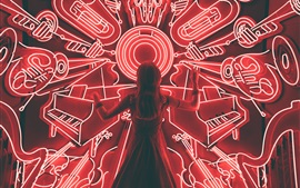 Preview wallpaper Girl back view, musical instruments neon lights