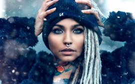 Preview wallpaper Girl, makeup, hat, tattoo, snowy