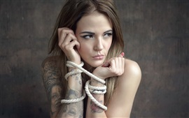 Preview wallpaper Girl, tattoo, rope