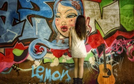 Preview wallpaper Graffiti wall, girl back view, guitar
