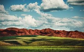 Preview wallpaper Grass, mountains, clouds, nature landscape