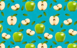 Preview wallpaper Green apples, blue background