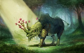 Preview wallpaper Green rhino, flowers, art drawing