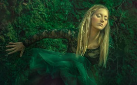 Preview wallpaper Green skirt, blonde girl, dream, art photography