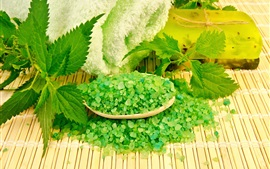 Jabón verde, hojas verdes