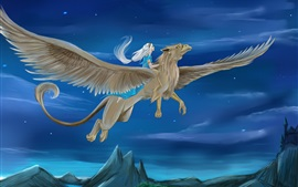 Preview wallpaper Griffin, wings, girl, night, art picture