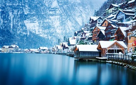 Hallstatt beautiful winter, snow, houses, lake, Austria