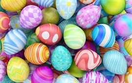 Preview wallpaper Happy Easter, colorful eggs