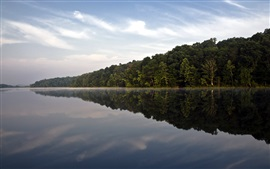 Preview wallpaper Hoosier National Forest, trees, lake, water reflection