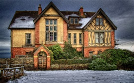 Preview wallpaper House, villa, snow, dusk, HDR style