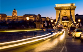 Hungary, Budapest, movement, lights, bridge, cars, night