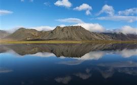 Islândia, Borgarnes, lago, montanha, reflexão da água