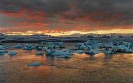 Aperçu fond d'écran Islande, Jokulsarlon, glace, mer, coucher de soleil