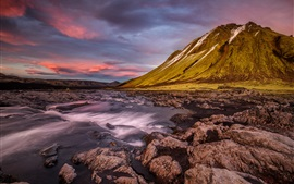 Preview wallpaper Iceland, mountain, slope, stones, river, clouds, dusk