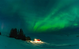 Iceland, wonderful northern lights, house, night, snow, winter