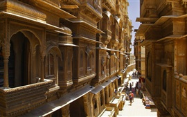 Índia, Rajasthan, rua, edifícios, cidade
